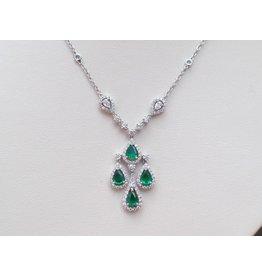 18K W/G Elegant Emerald and Diamond Necklace