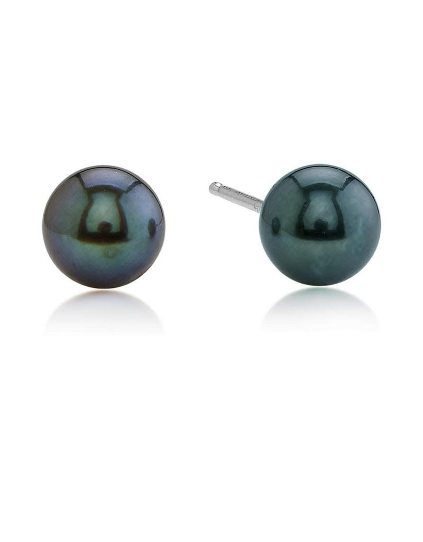 14K White Gold 6mm Black Pearl Stud Earrings