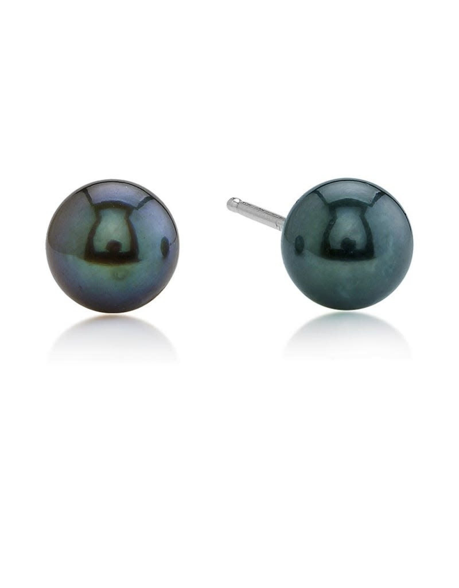 14K White Gold 8mm Black Pearl Stud Earrings