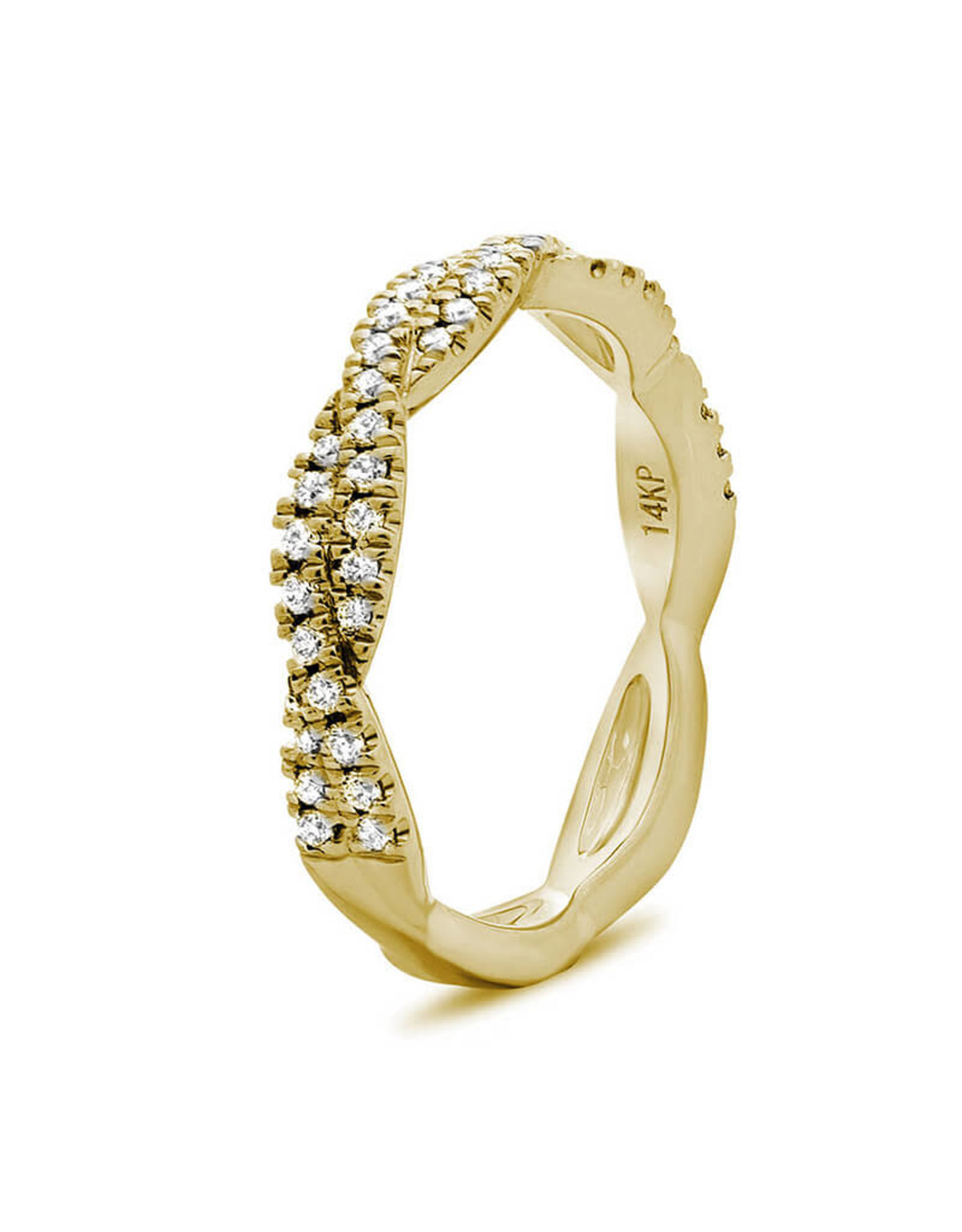 14K Yellow Gold Twisted Diamond Infinity Ring, D: 0.25ct