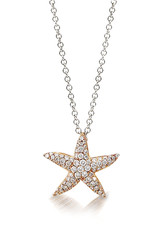18K Rose Gold Small Starfish Necklace, D: 0.32ct