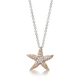 18K R/G Small Starfish Necklace