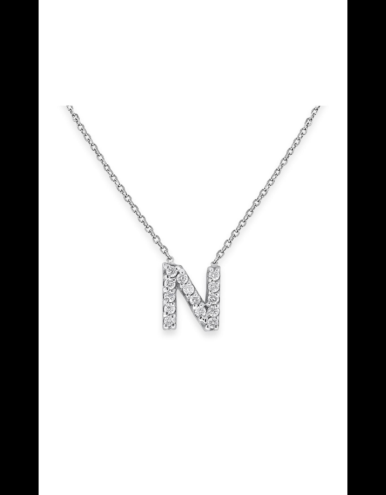 "14K White Gold Mini Diamond Initial ""N"" Necklace, D: 0.06ct"