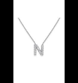 """14K W/G Mini Diamond Initial """"N"""" Necklace"""