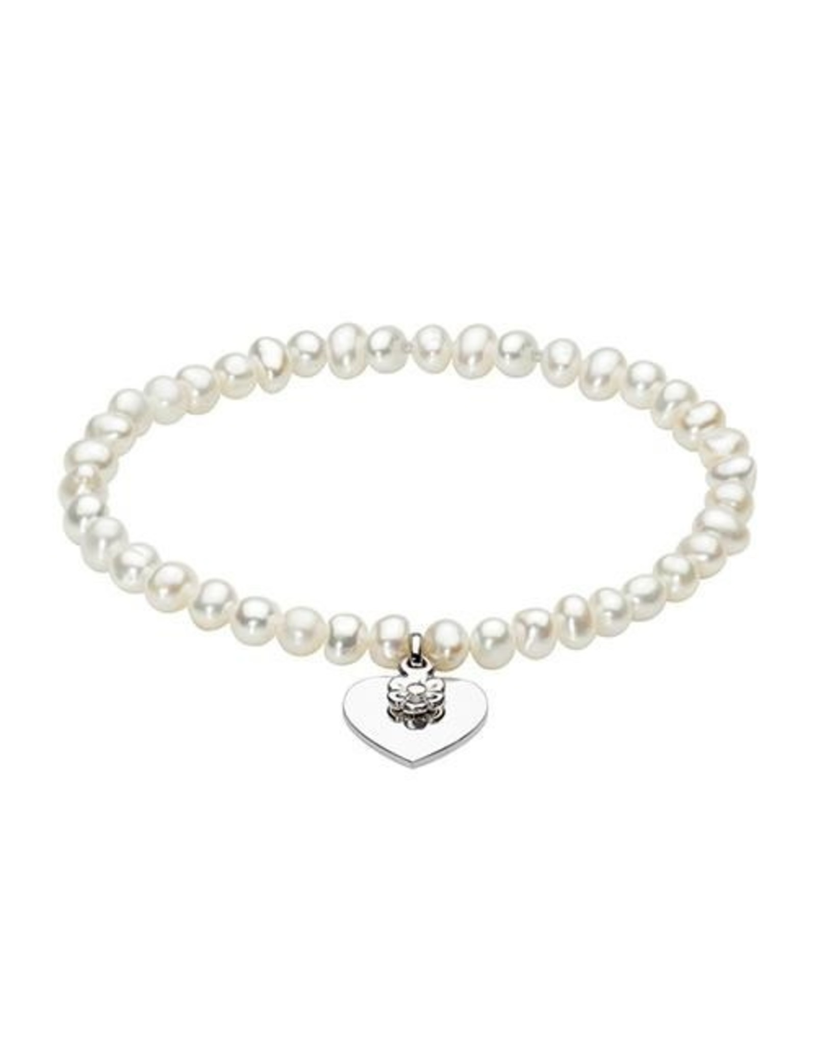 Girls Freshwater Pearl Bracelet with Heart and Daisy Charm