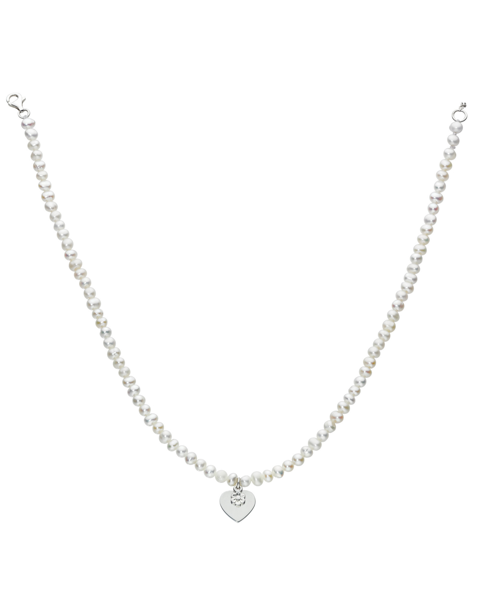 """Girls Freshwater Pearl Necklace with Heart and Daisy Charm, 12""""- 14"""""""