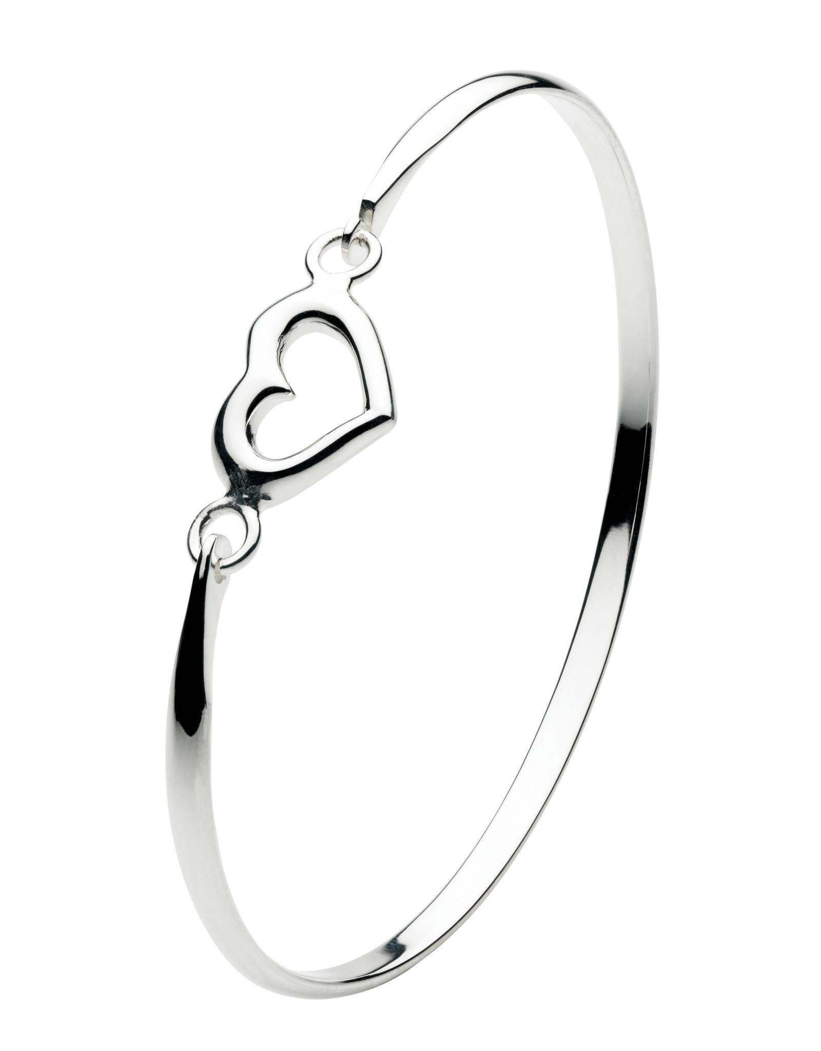 Girls Silver Open Heart Bangle Bracelet