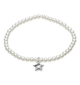 Girls Stretchy Swarovski Pearl Bracelet with Star Charm