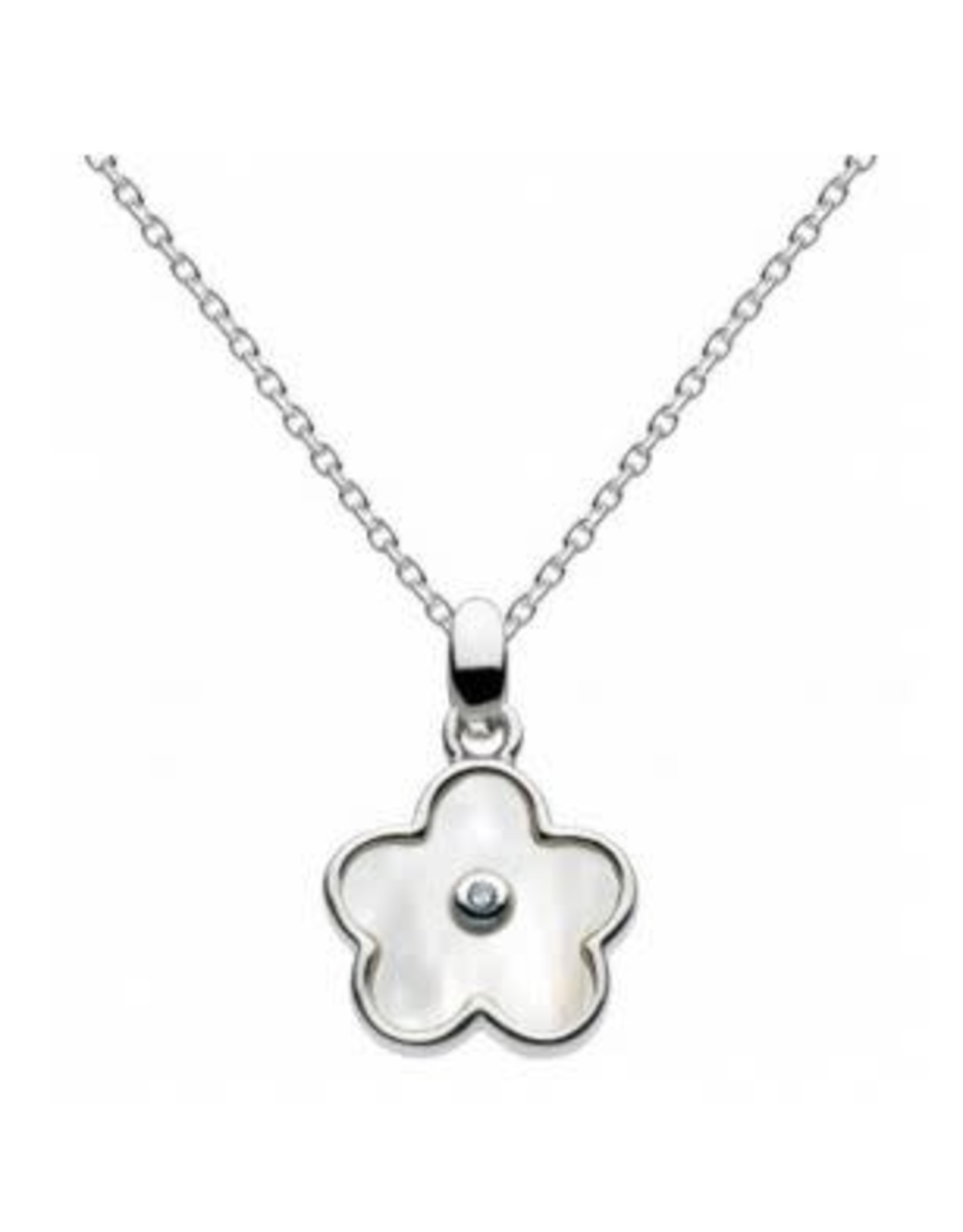 """Girls Silver Mother of Pearl Flower Necklace with Diamond, 16"""" - 18"""""""