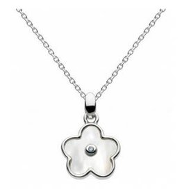 Girls Silver Mother of Pearl Flower Necklace w/ Diamond
