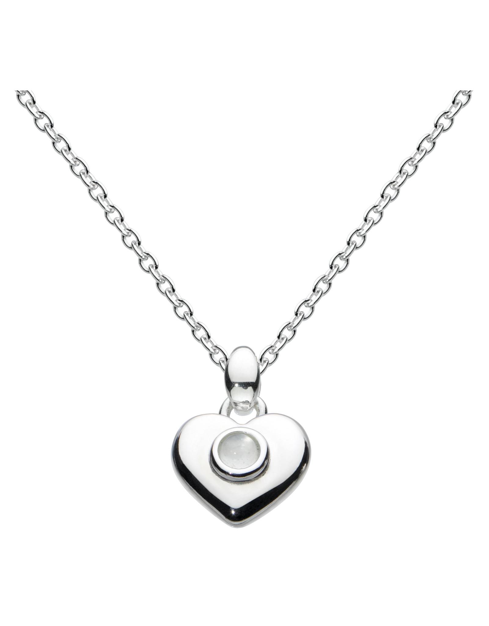 "Girls Silver October Birthstone Heart Necklace, 14"" -16"""