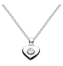 Girls Silver October Birthstone Heart Necklace
