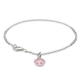 Girls Silver Light Pink Polka Dot Flower Bracelet