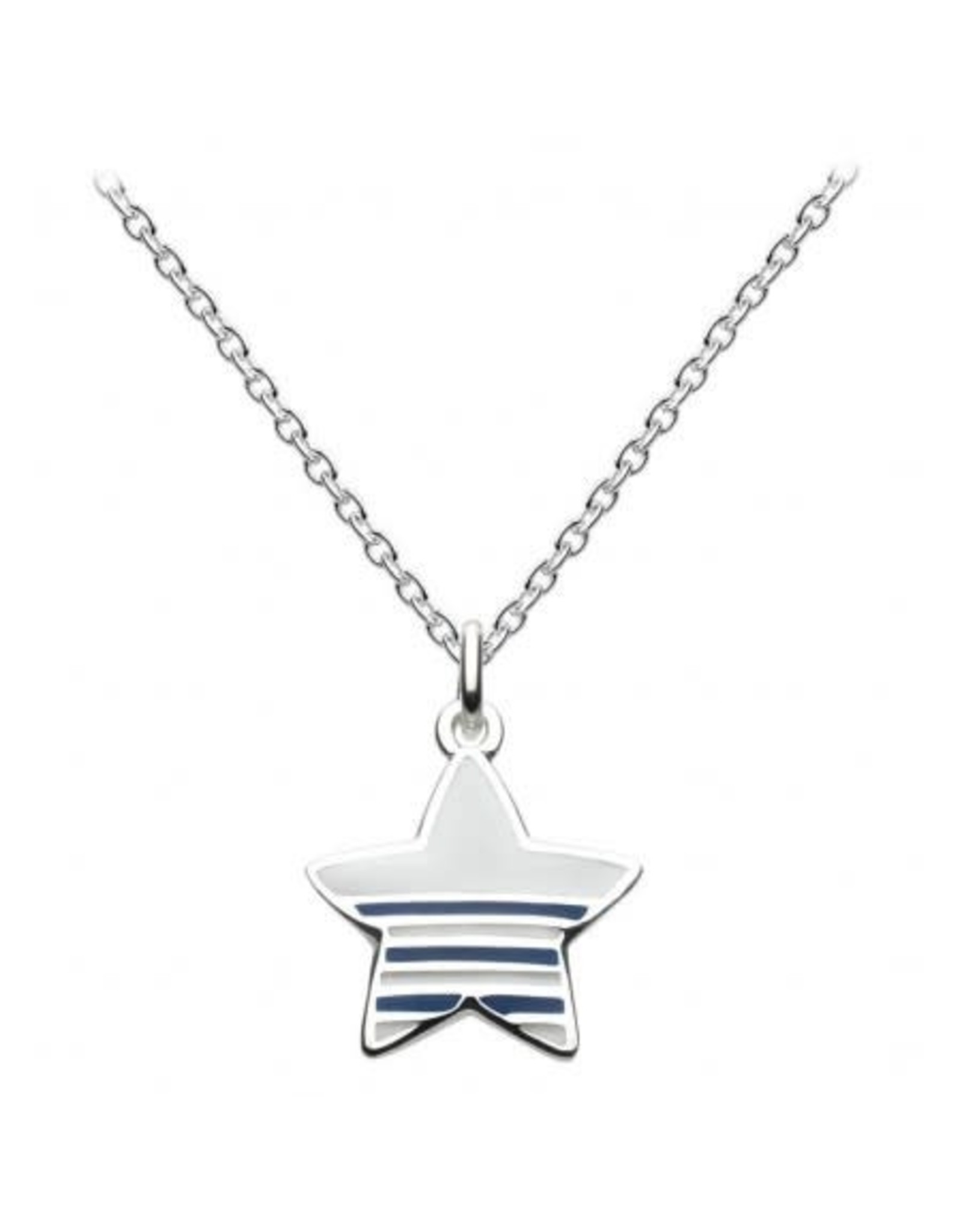 """Silver Striped Nautical Star Necklace, 16"""""""