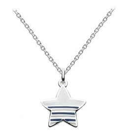 Silver Striped Nautical Star Necklace