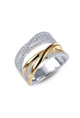 2-tone Sliver and Yellow Gold Plated Crossover Ring with Cubic Zirconia, CZ: 0.96ct