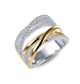 2-tone Sliver and Yellow Gold Plated Crossover Ring with CZ