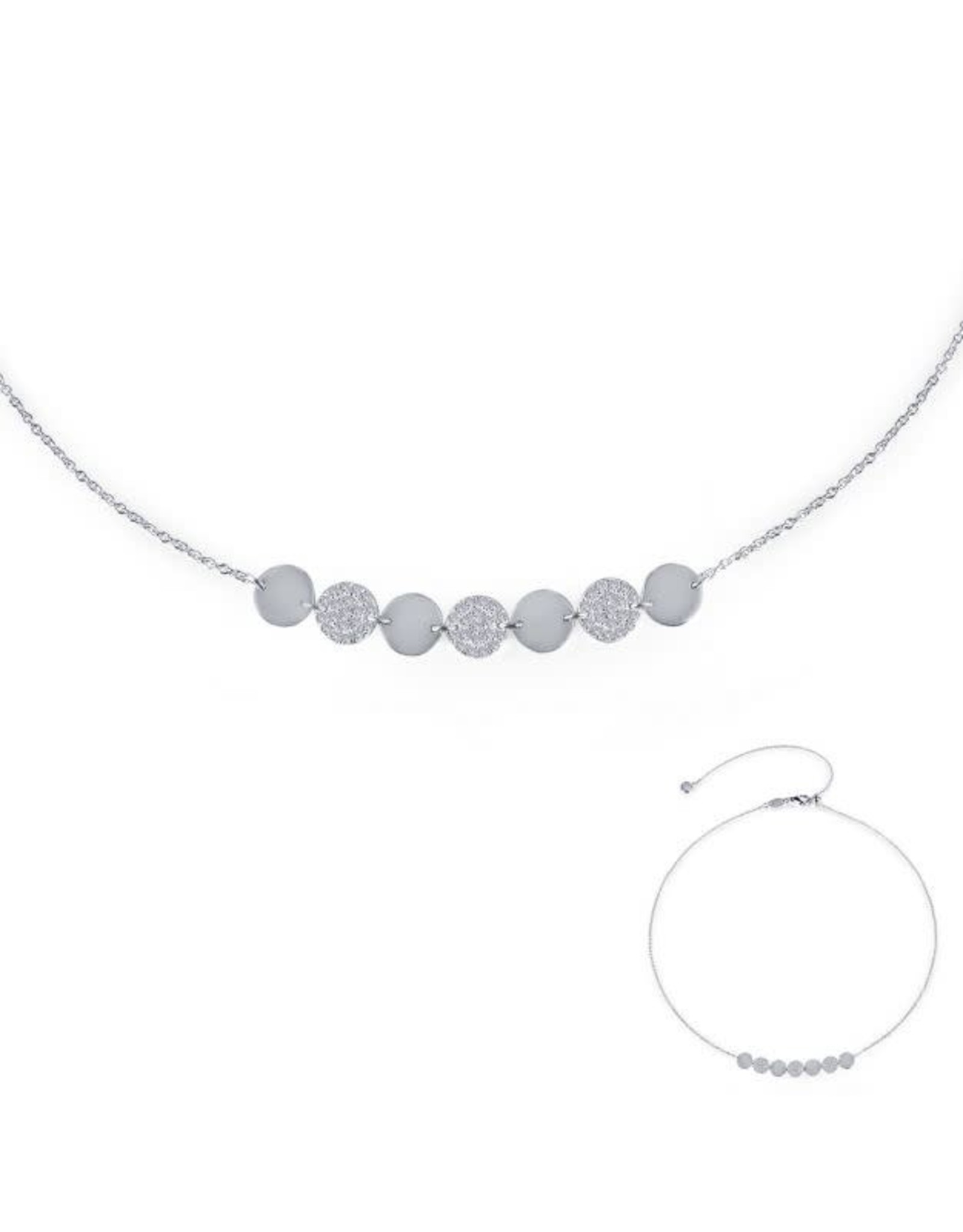 Silver 7 Symbols of Joy Necklace with Pave Zirconias, CZ: 0.82ct