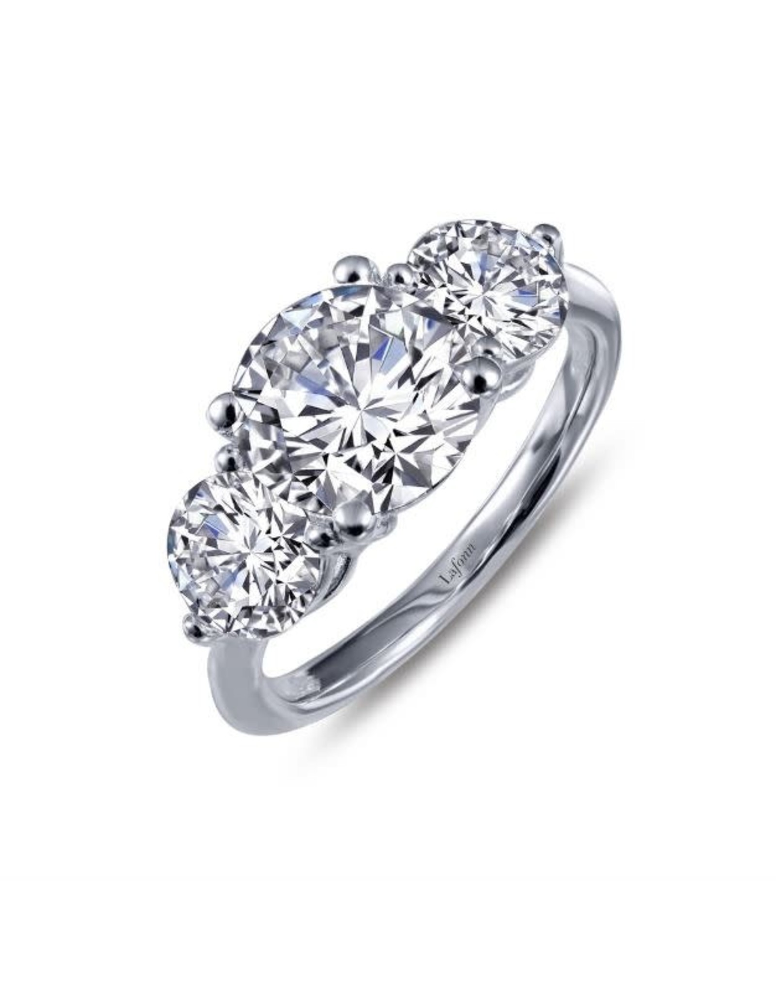 Silver Three Stone Zirconia Engagement Ring, CZ: 2.99ct