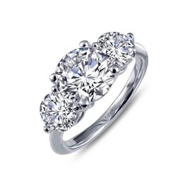 Silver Three Stone Zirconia Engagement Ring