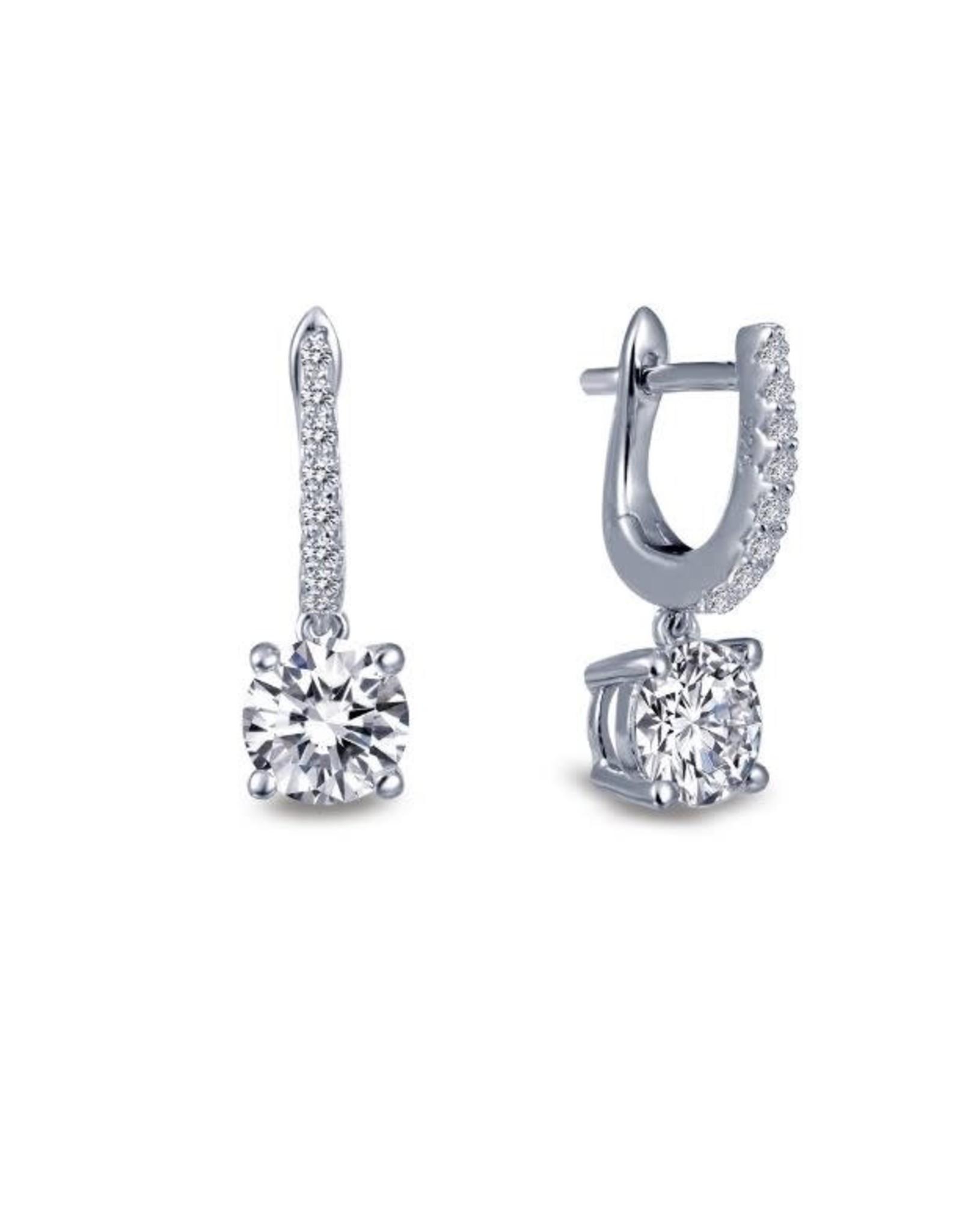 Silver Solitaire Zirconia Dangle Earrings, CZ: 1.86ct