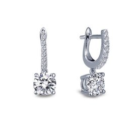 Silver Solitaire Zirconia Dangle Earrings