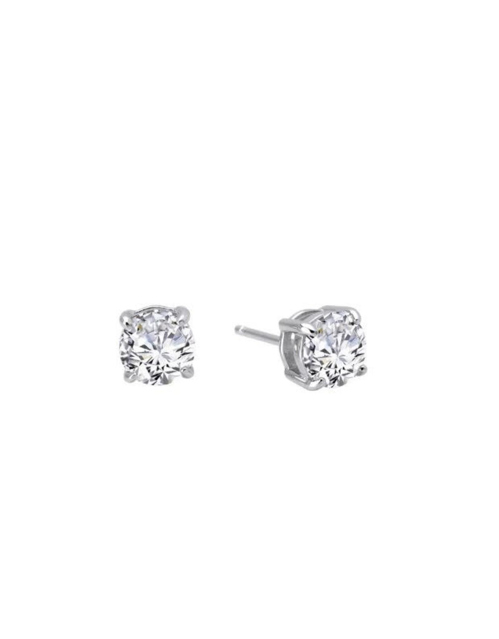 Silver Zirconia Stud Earrings, CZ: 1.50cts