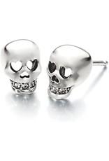 14K White Gold Diamond Skull Stud Earrings with Heart Eyes, D: 0.06ct