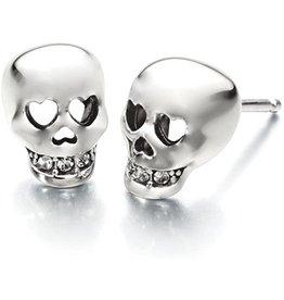 14K W/G Diamond Skull Stud Earrings with Heart Eyes