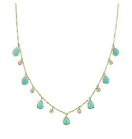 14K Y/G Turquoise and Diamond Dangle Necklace
