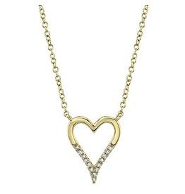 14K Y/G Half Diamond Cutout Heart Necklace