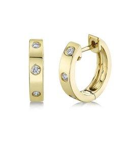 14K Y/G Essential Diamond Inlay Huggies