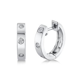 14K W/G Essential Diamond Inlay Huggies