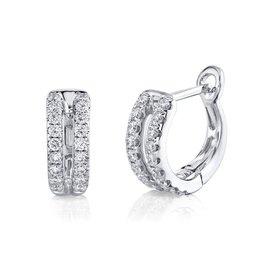 14K W/G Double Row Diamond Hinge Huggies
