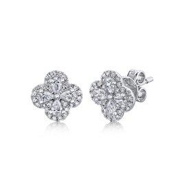 14K W/G Diamond Clover Stud Earrings