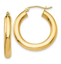 14K 4mm Lightweight Classic Tube Hoop Earrings
