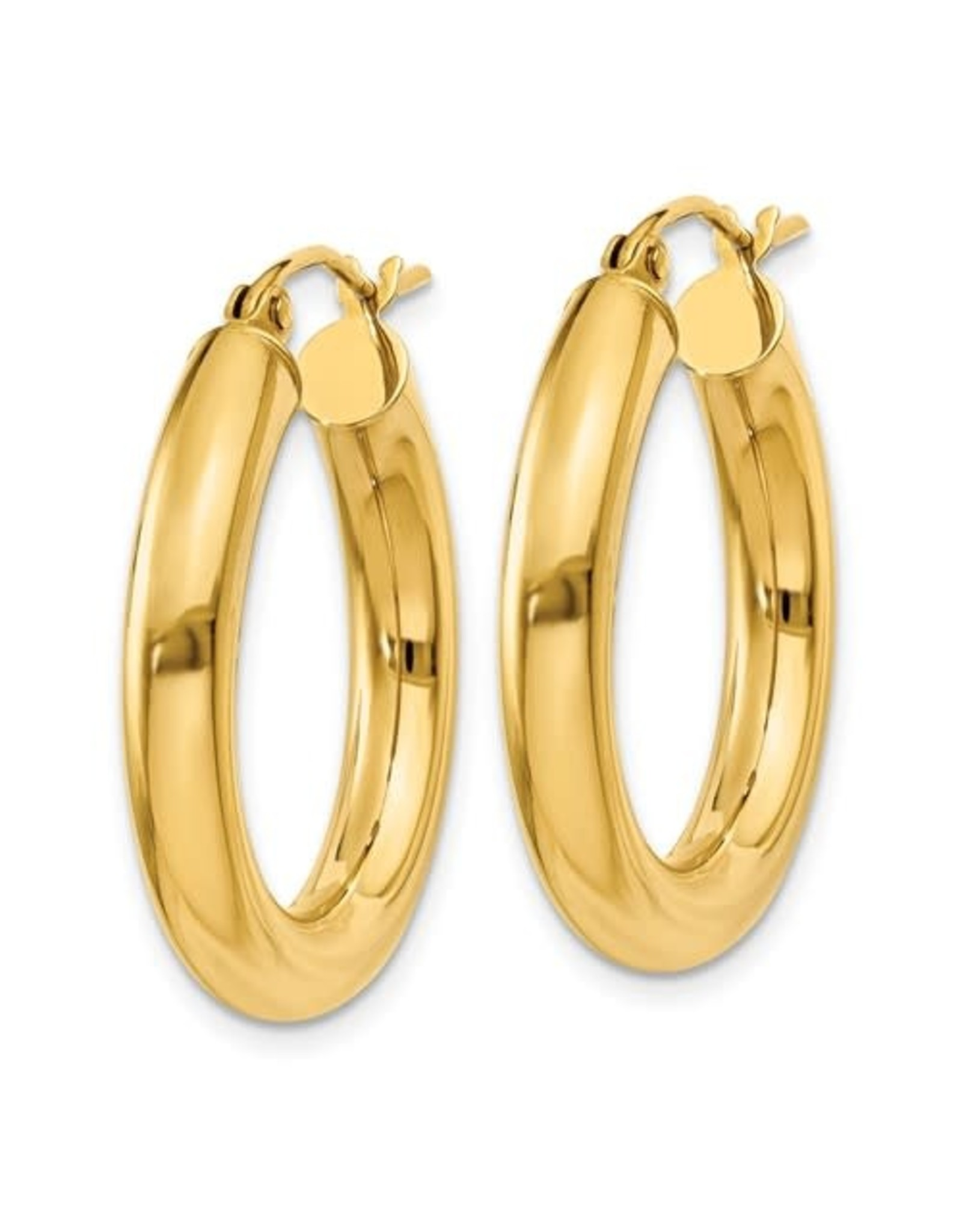 "14K 4mm Lightweight Classic Tube Hoop Earrings, 1"", 1.85dwts"