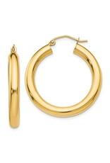 "14K 4mm Lightweight Medium Classic Tube Hoop Earrings, 1.2"", 2.25dwts"