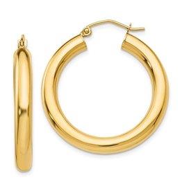 14K 4mm Lightweight Medium Classic Tube Hoop Earrings