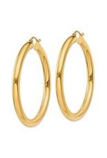 "14K 4mm Lightweight Large Classic Tube Hoop Earrings, 1.75"", 3.60dwts"