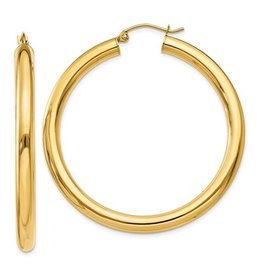 14K 4mm Lightweight Large Classic Tube Hoop Earrings