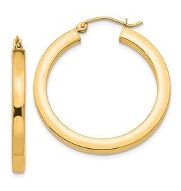 14K 3mm Lightweight Medium Square Tube Hoop Earrings,