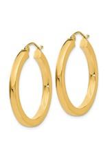 """14K 3mm Lightweight Medium Square Tube Hoop Earrings, 1.25"""", 2.25dwts"""