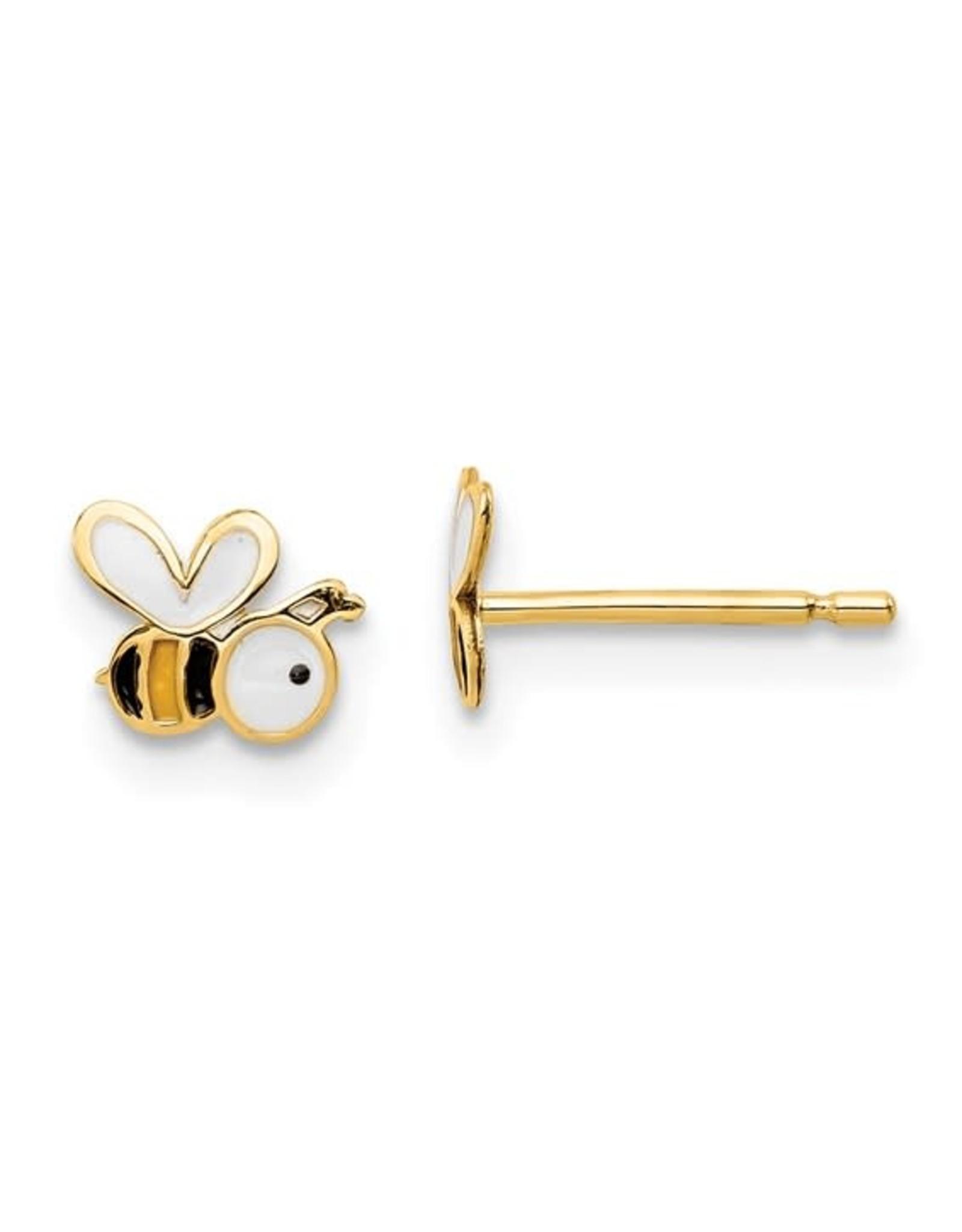 14K Yellow Gold Children's Bee Kind Enamel Stud Earrings