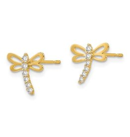 14K Y/G Dragonfly Earrings with Sparkling Zirconias