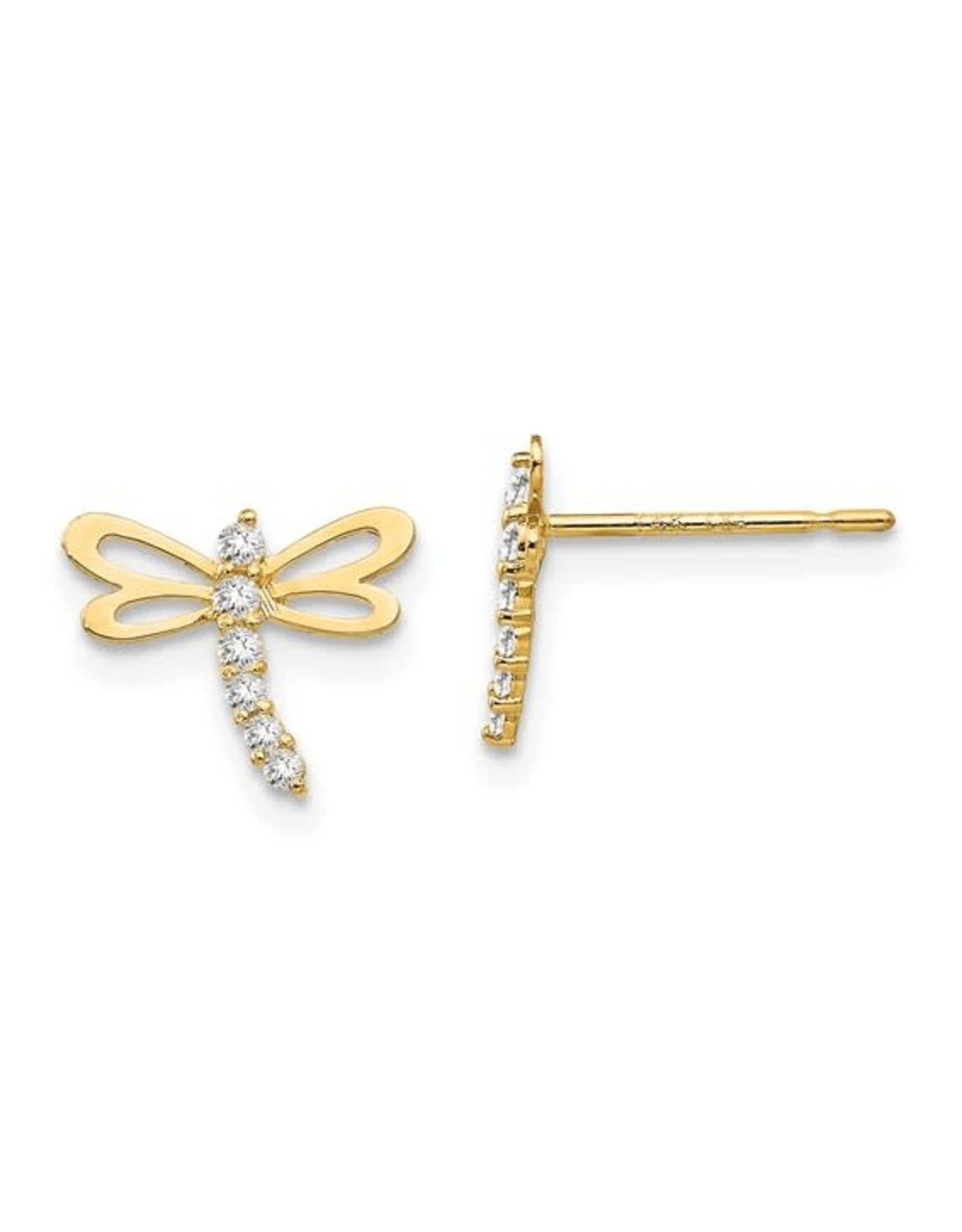 14K Yellow Gold Dragonfly Earrings with Sparkling Zirconias