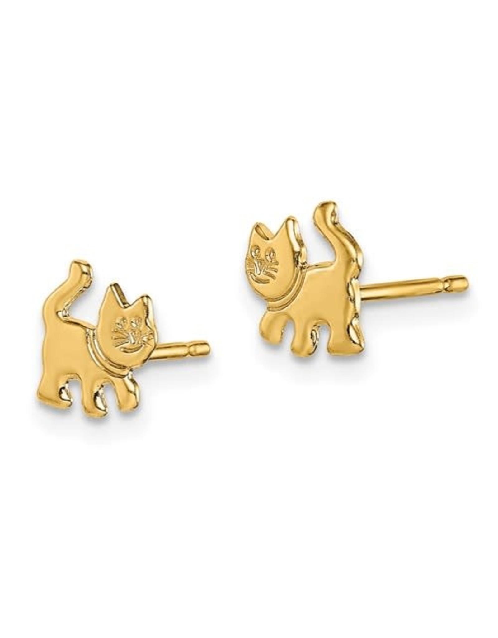 14K Yellow Gold Children's Puurrfect Kitten Stud Earrings