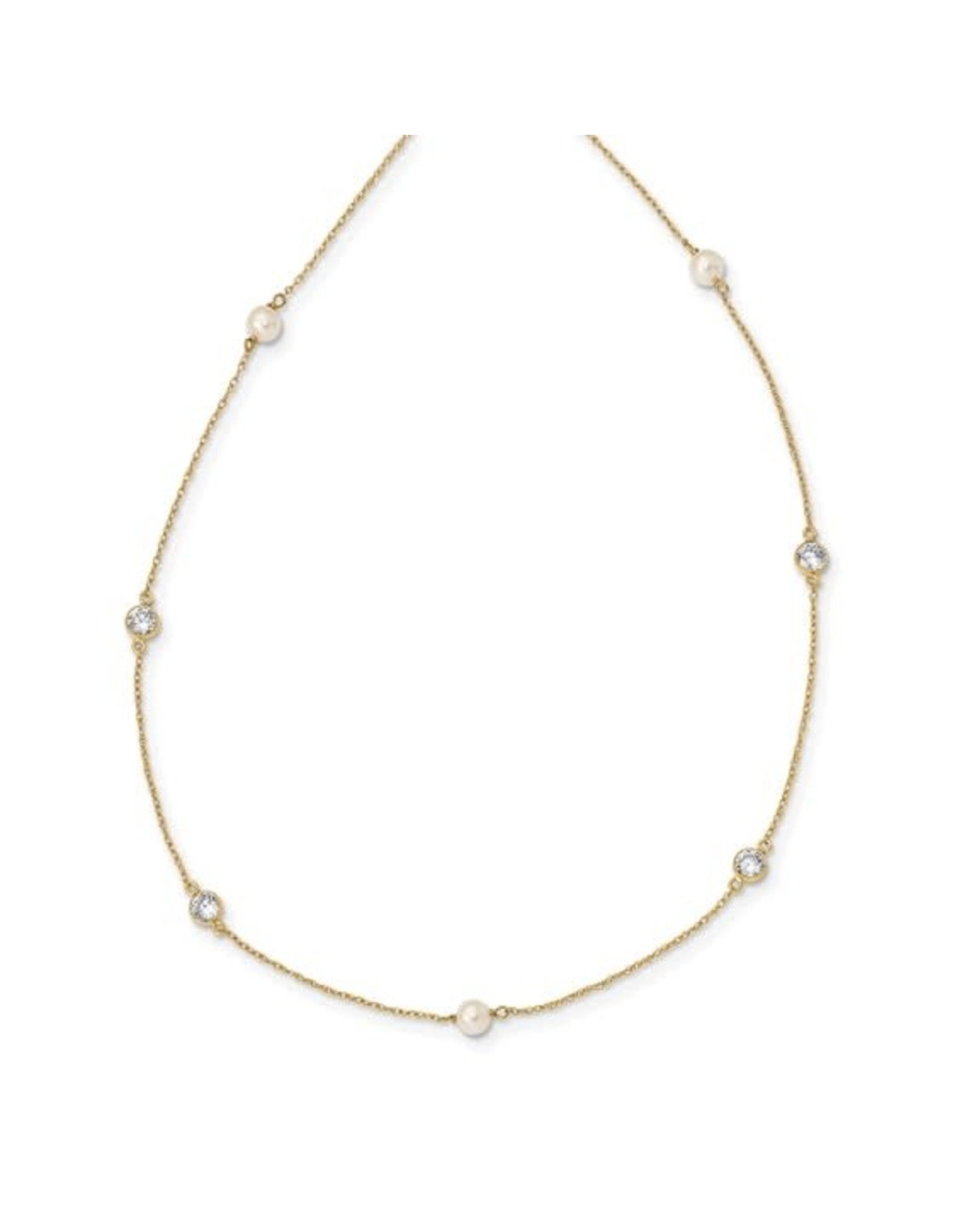 """14K Yellow Gold Children's Pearl and Zirconia Station Necklace, 14"""""""