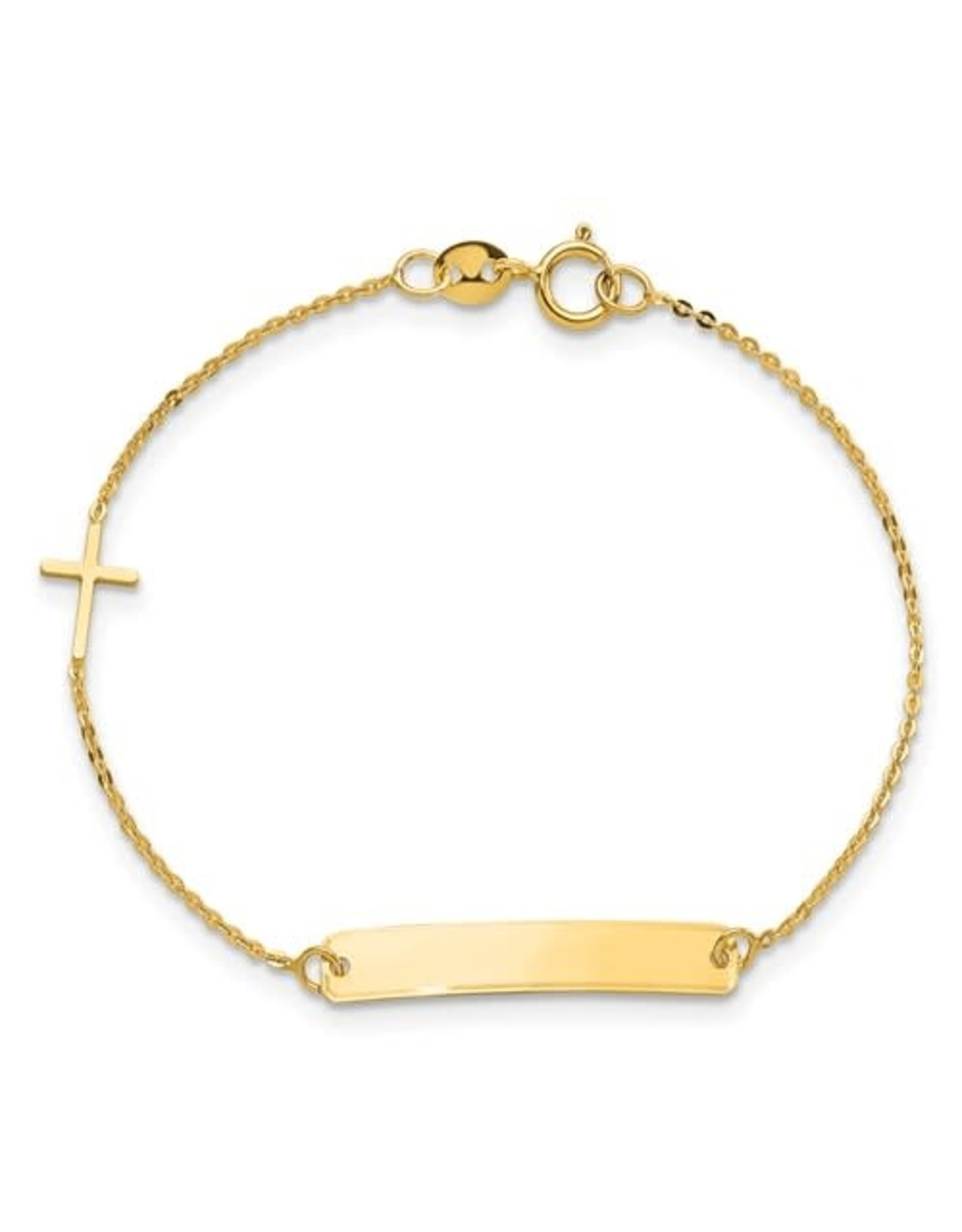 "14K Yellow Gold Baby ID Bracelet with Cross, 5.5"""