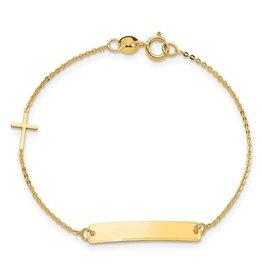 14K Y/G Baby ID Bracelet with Cross